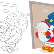 Santa Claus holding his sack of Christmas presents and peeping through a keyhole — Stock Vector