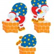 Santa Claus with his sack of Christmas presents tries to get through the chimney — Stock Vector
