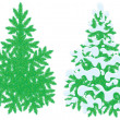 Green fir-trees, snow-covered and without snow, on a white background — Stock Vector