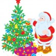 Santa Claus decorating Christmas tree — Imagen vectorial