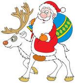 Santa Claus riding on Reindeer — Stock Vector
