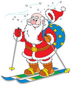 Claus skiing with Christmas presents in his bag — Stock Vector