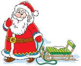 Santa Claus pulling a sleigh — Stock Vector