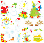 Vector clip-arts of Santa Claus, snowman, moon and stars, Christmas tree, clock, Santas hat and beard, sweets, sock with candies, snowflakes, tall wineglass, wine bottle and fried turkey hen — Vecteur