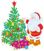 Santa Claus decorating Christmas tree — Stock Vector