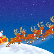 Sleigh of Santa taking off in Christmas night sky - Stock Photo