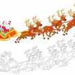 Sleigh of Santa taking off - Stock Photo