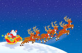 Sleigh of Santa taking off in Christmas night sky — Stockfoto