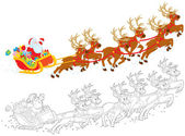 Sleigh of Santa taking off — Stockfoto