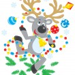 Reindeer dancing — Stock Vector