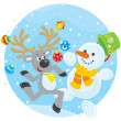 Reindeer and Snowman dancing - Stock Vector