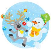Ren geyiği ve dans kardan adam — Stok Vektör