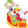 Santa, Reindeer and Snowman with gifts — Stockfoto