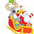 Santa, Reindeer and Snowman with gifts - Stock Photo