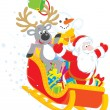 Stock Vector: Santa, Reindeer and Snowmin sleigh