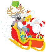 Père noël, renne et bonhomme de neige dans un traîneau — Vecteur