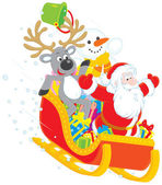 Santa, Reindeer and Snowman in a sleigh — Stockvector