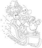 Santa, ren geyiği ve kardan adam bir atlı kızak içinde — Stok Vektör