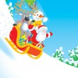 Santa, Reindeer and Snowman carrying gifts - Stock Photo