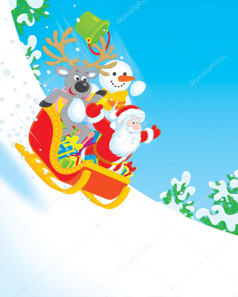 Santa Claus, Reindeer and Snowman sliding downhill in a sleigh with Christmas gifts — Stock Photo #16642259