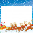 Border with Sleigh of Santa Claus - Stock Photo