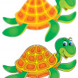 Turtle (color and black contours) — Stock Photo