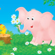 Pink elephant and little chick — Stock Photo