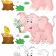 Pink elephant and little chick — Stock Photo #16868127