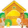 Farm animals in a farmyard - Stock Photo