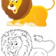 Lion on white background - Stock Photo