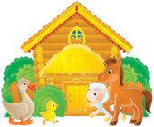 Animali da fattoria in un'aia — Foto Stock