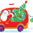 Santa drives with Christmas tree — Imagen vectorial