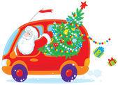 Santa drives with Christmas tree — Stock Vector