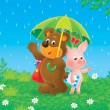 Bear-cub and piglet in the rain — Stock Photo