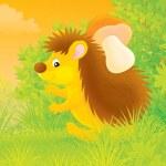 Hedgehog with a mushroom — Stock Photo