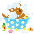 Stock Vector: Cartoon dog having bath