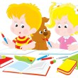 Children do homework — Stock Vector