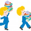 Schoolboy with textbooks — Stock Vector