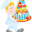 Stock Vector: Pastry cook with cake