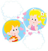 Girl and Boy dreaming — Stock Vector