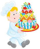 Pasticcere con una torta — Vettoriale Stock