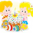 Girl and boy with a colorfully decorated Easter cake and painted eggs — Stock Vector #20421401