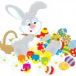 Easter Bunny painting Easter eggs to the upcoming holiday — Stock Vector