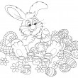 Easter Bunny painting Easter eggs to the upcoming holiday — Grafika wektorowa