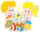 Girl and boy with a colorfully decorated Easter cake and painted eggs — Stock Vector