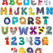 English alphabet with funny monsters — Imagen vectorial