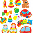 Illustration of colorful toys — Stockvectorbeeld