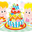 Girl and boy with a big colorful birthday cake — Stock Vector
