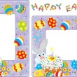 Stock Vector: Easter borders with Bunny