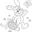 Stockvector : Easter Bunny with basket of eggs